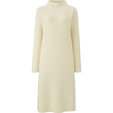 WOMEN MIDDLE GAUGE KNIT RIBBED DRESS, OFF WHITE, medium