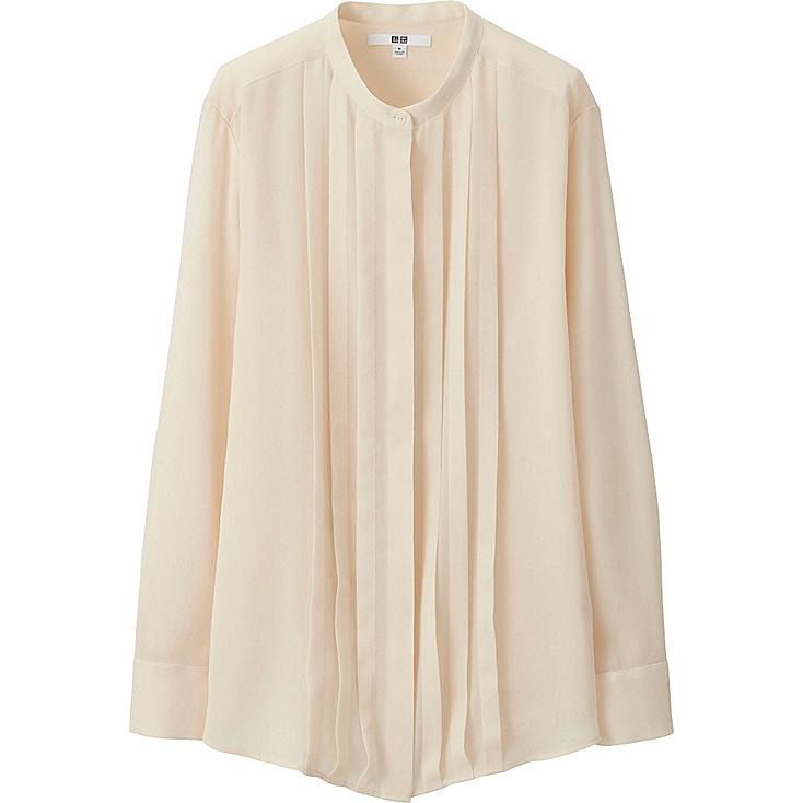 WOMEN GEORGETTE LONG SLEEVE BLOUSE, OFF WHITE, large