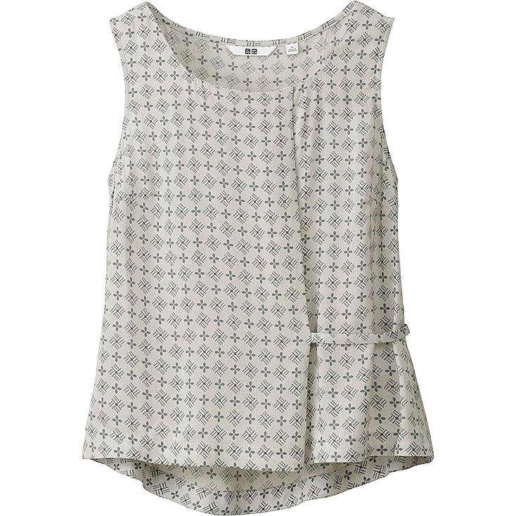 WOMEN PRINTED TUCK SLEEVELESS BLOUSE, OFF WHITE, large