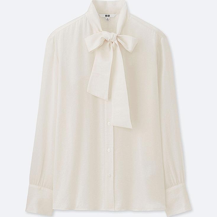 WOMEN Satin Bow Tie Long Sleeve Blouse