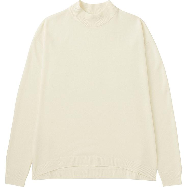 Women Extra Fine Merino Wool High Neck Sweater, OFF WHITE, large