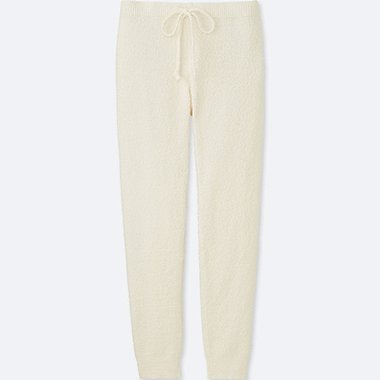 WOMEN FLUFFY YARN LOUNGE PANTS, OFF WHITE, medium