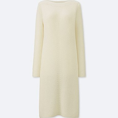 WOMEN MIDDLE GAUGE KNIT A-LINE DRESS, OFF WHITE, medium