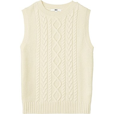 WOMEN HEAVY GAUGE CABLE CREWNECK VEST, OFF WHITE, medium