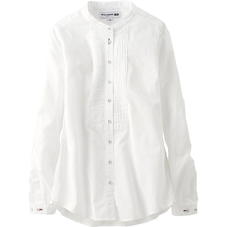WOMEN Ines Cotton Lawn Pleated Long Sleeve Shirt
