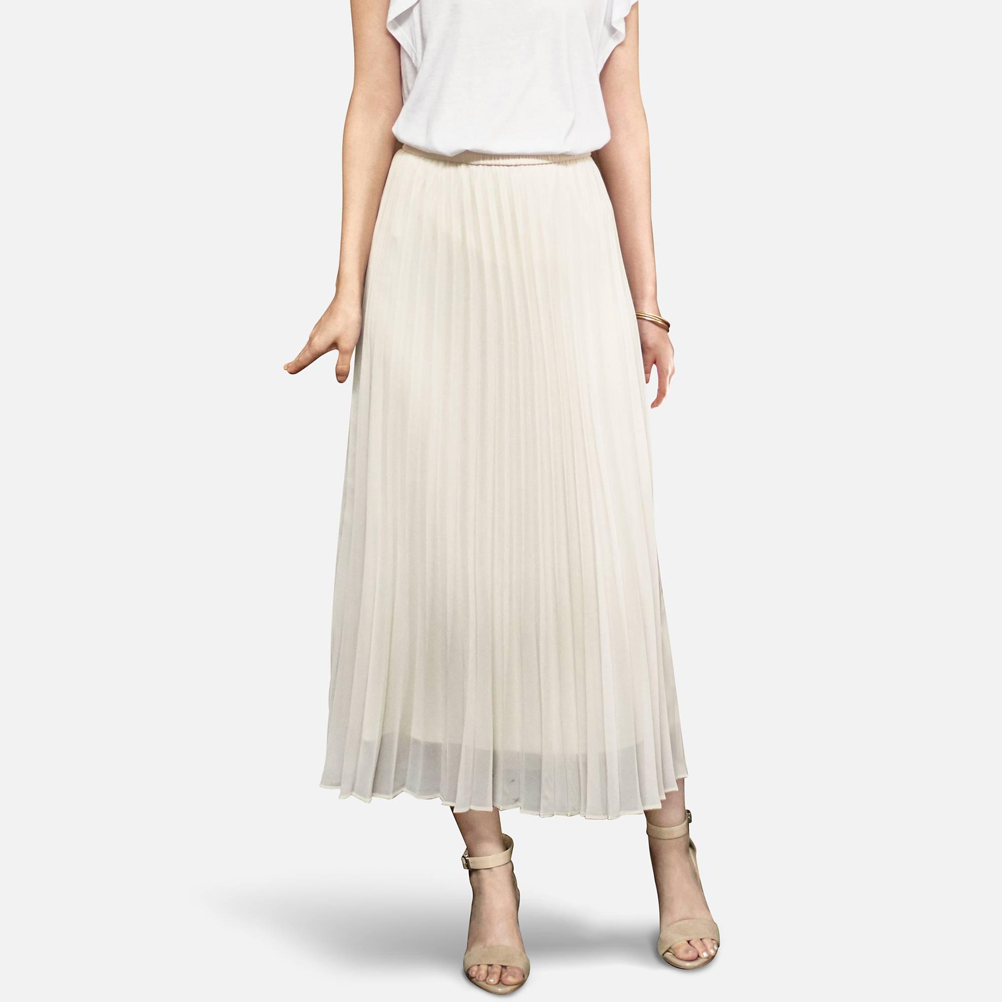 Dresses skirts clothes women disney store - Women Chiffon Pleated Skirt Light Gray Small