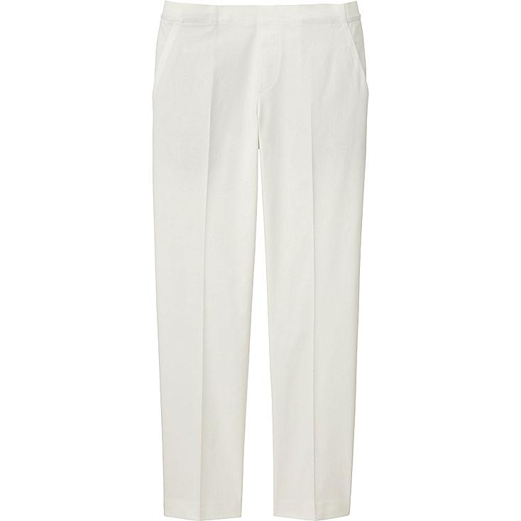 WOMEN SATIN ANKLE LENGTH PANTS, OFF WHITE, large
