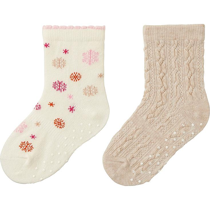 BABY SOCKS 2P, OFF WHITE, large