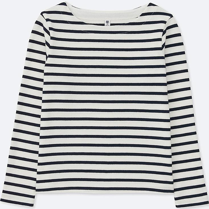 GIRLS STRIPED BOAT NECK LONG-SLEEVE T-SHIRT, OFF WHITE, large