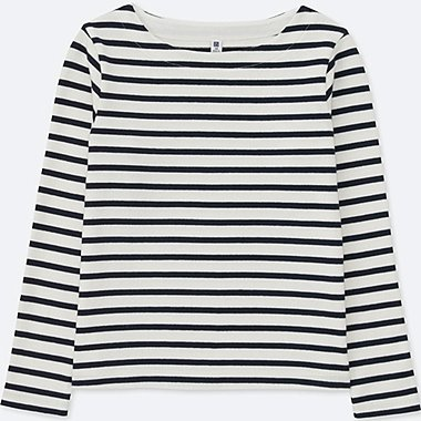 GIRLS STRIPED BOAT NECK LONG-SLEEVE T-SHIRT, OFF WHITE, medium