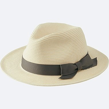 WOMEN PAPER FEDORA HAT, OFF WHITE, medium