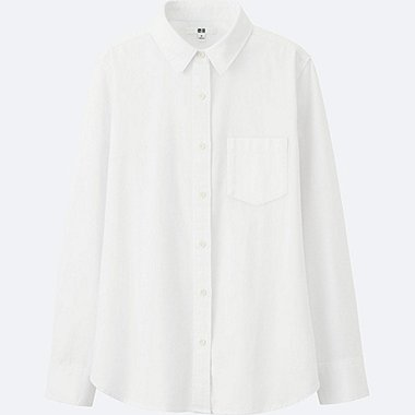 WOMEN DENIM LONG-SLEEVE SHIRT, OFF WHITE, medium