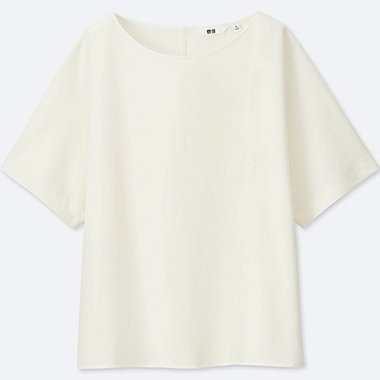 WOMEN DRAPE SHORT SLEEVE T BLOUSE, OFF WHITE, medium