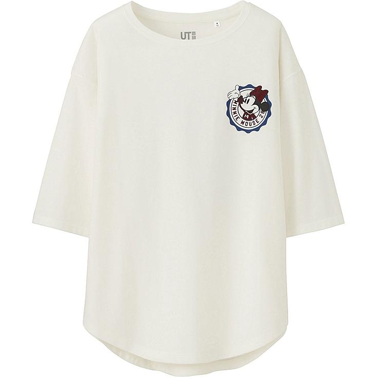 WOMEN DISNEY PROJECT 3/4 SLEEVE GRAPHIC T-SHIRT, OFF WHITE, large