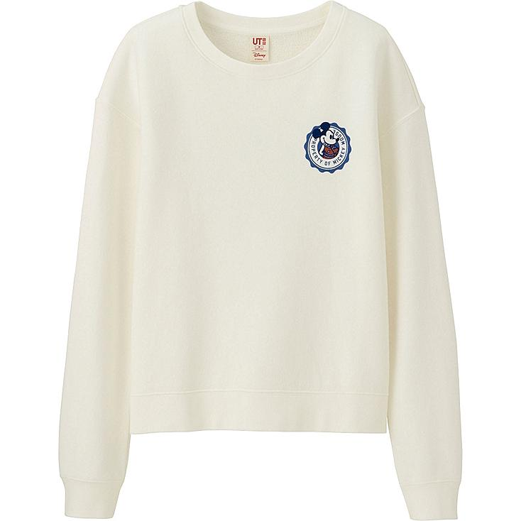 WOMEN DISNEY LONG SLEEVE SWEAT PULLOVER, OFF WHITE, large