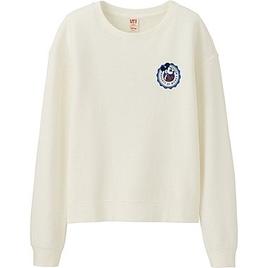 WOMEN DISNEY LONG SLEEVE SWEAT PULLOVER, OFF WHITE, medium