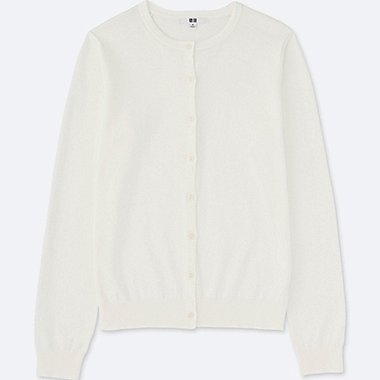 WOMEN Supima® COTTON CREWNECK CARDIGAN, OFF WHITE, medium