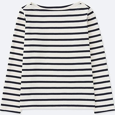 WOMEN STRIPED BOAT NECK LONG SLEEVE T-SHIRT, OFF WHITE, medium
