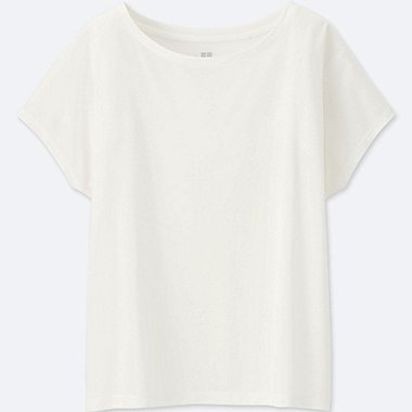 WOMEN DRAPE CREWNECK SHORT-SLEEVE T-SHIRT, OFF WHITE, medium