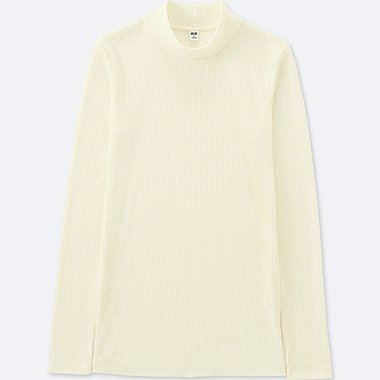 WOMEN RIBBED HIGH NECK LONG SLEEVE T, OFF WHITE, medium
