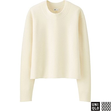 WOMEN U MILANO RIBBED CREWNECK SWEATER, OFF WHITE, medium