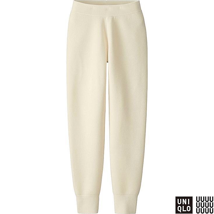 WOMEN U MILANO RIBBED PANTS, OFF WHITE, large