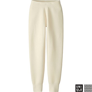 WOMEN U MILANO RIBBED PANTS, OFF WHITE, medium