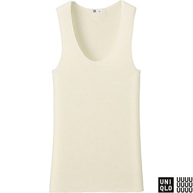 WOMEN U CASHMERE RIBBED SLEEVELESS TOP, OFF WHITE, medium