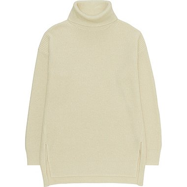 WOMEN OVERSIZED TURTLENECK TUNIC, OFF WHITE, medium