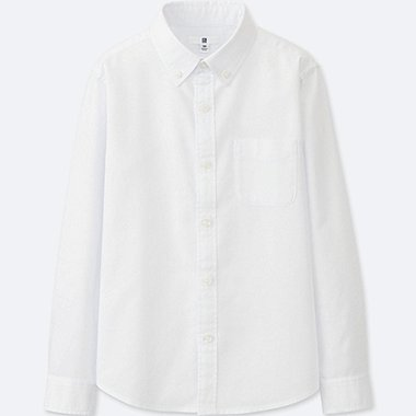 KIDS OXFORD LONG SLEEVE SHIRT, OFF WHITE, medium