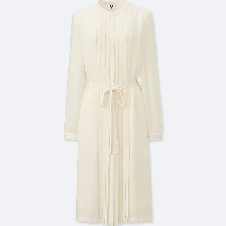 WOMEN Georgette Pleated Long Sleeve Dress