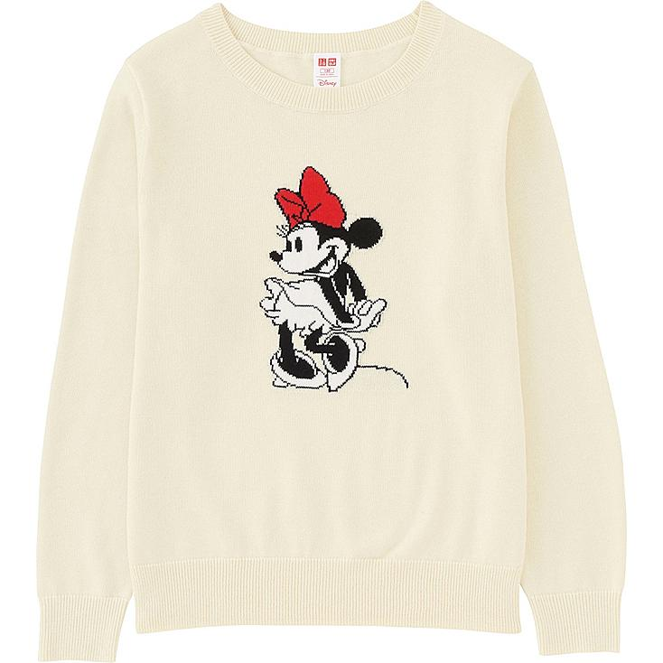 KIDS DISNEY COLLECTION CREW NECK LONG SLEEVE SWEATER, OFF WHITE, large