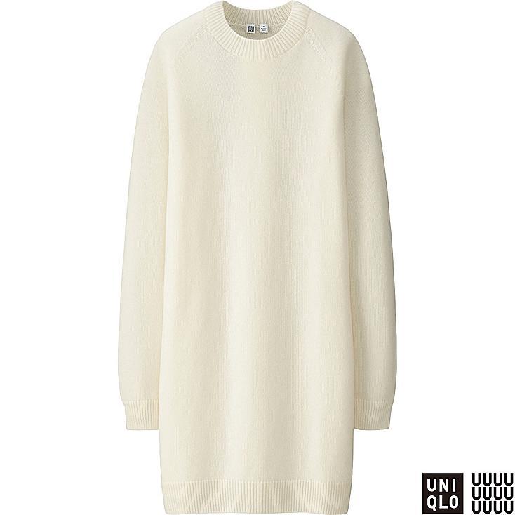 WOMEN U CASHMERE BLEND LONG SLEEVE DRESS, OFF WHITE, large