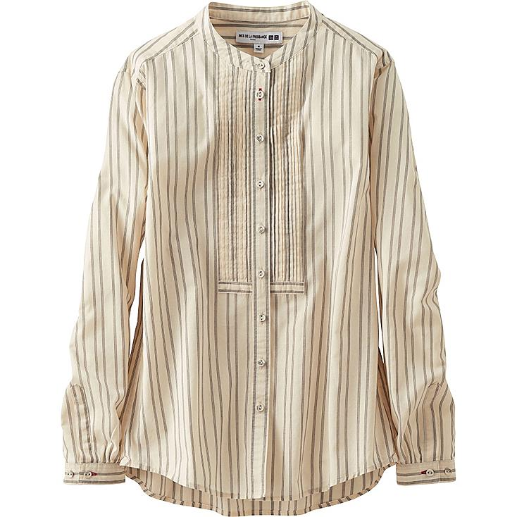 WOMEN COTTON LAWN STRIPED PLEATED LONG SLEEVE SHIRT, OFF WHITE, large