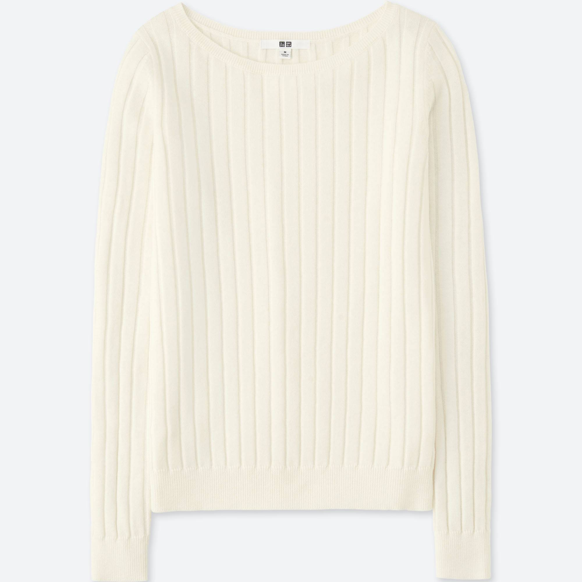 WOMEN COTTON CASHMERE WIDE RIBBED SWEATER | UNIQLO US
