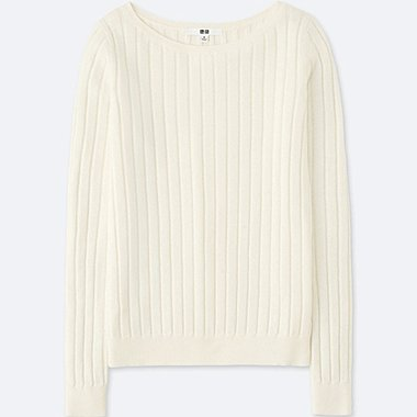 WOMEN COTTON CASHMERE WIDE RIBBED SWEATER, OFF WHITE, medium