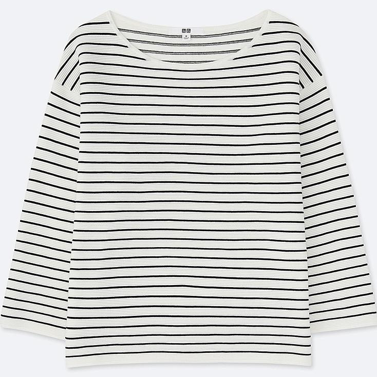 WOMEN Ripple Striped Crew Neck Sweater