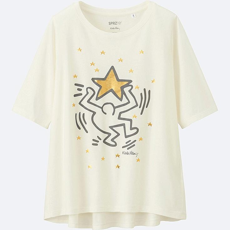 WOMEN SPRZ NY SHORT-SLEEVE GRAPHIC T-SHIRT (KEITH HARING), OFF WHITE, large