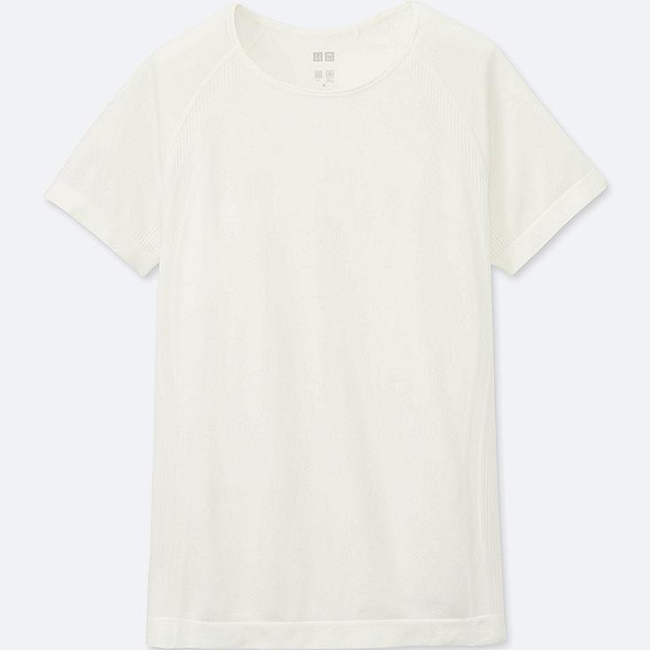 WOMEN AIRism SEAMLESS SHORT SLEEVE T, OFF WHITE, large