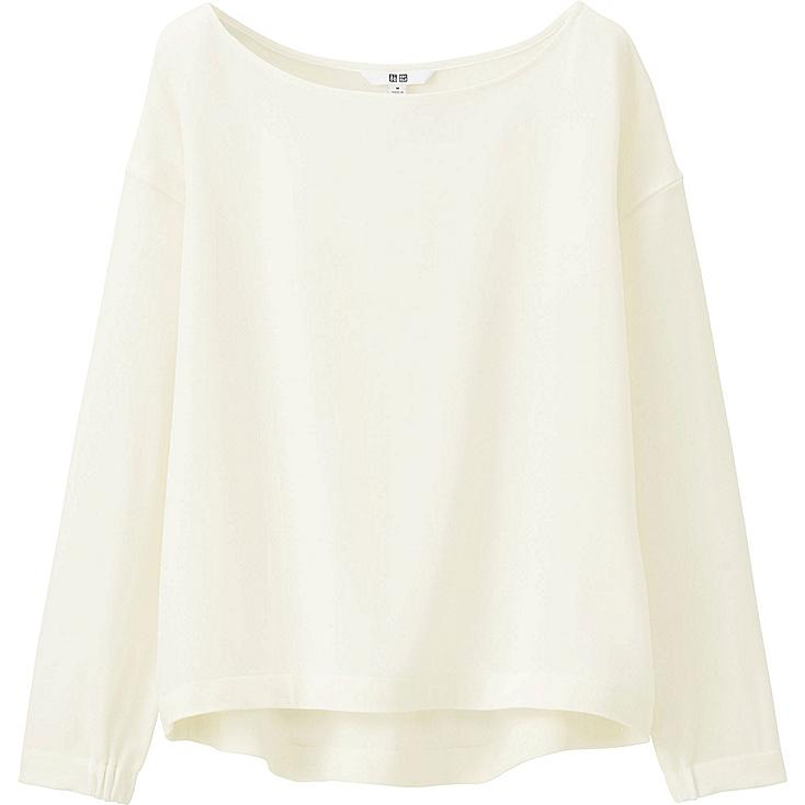 WOMEN DRAPE BOAT NECK LONG-SLEEVE T BLOUSE, OFF WHITE, large
