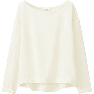 WOMEN Drape Boat Neck Long Sleeve T Blouse