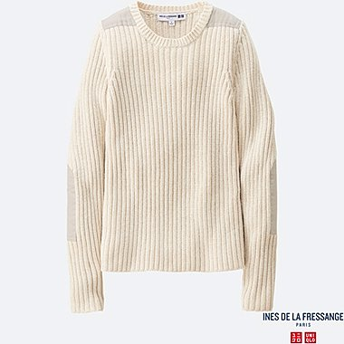 WOMEN INES Military Ribbed Crew Neck Sweater