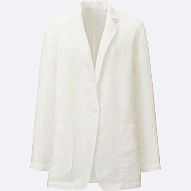 WOMEN Linen Blend Long Jacket