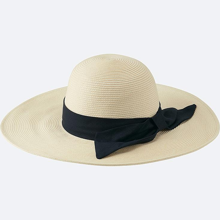 WOMEN PAPER WIDE BRIM HAT, OFF WHITE, large
