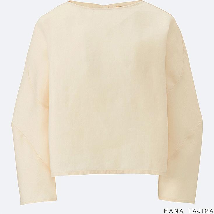 WOMEN Hana Tajima Linen Cropped Long Sleeve Blouse