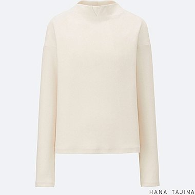 WOMEN Hana Tajima Ribbed Mock Neck Long Sleeve T-Shirt