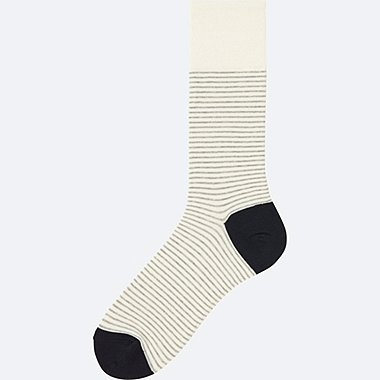 MEN NARROW STRIPED SOCKS, OFF WHITE, medium