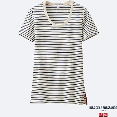 WOMEN INES Ribbed Striped Crew Neck T-Shirt