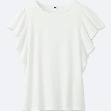 WOMEN FRILL SHORT-SLEEVE T-SHIRT, OFF WHITE, medium