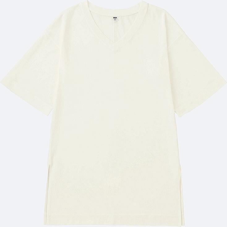 WOMEN V-NECK WIDE HALF SLEEVE LONG T-SHIRT, OFF WHITE, large